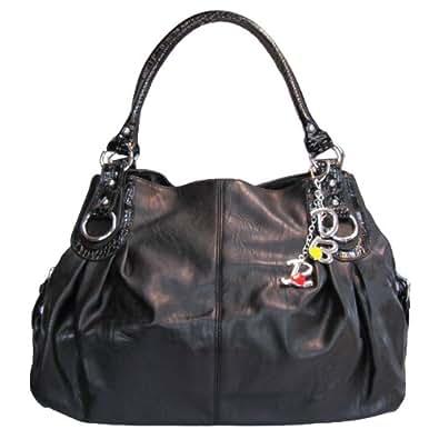 Large Charm Hobo Handbag (Black)