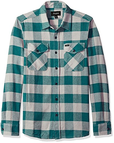 Brixton Men's Hayes Relaxed Fit Long Sleeve Flannel Shirt, Concrete, XL Long Sleeve Relaxed Fit Oxfords
