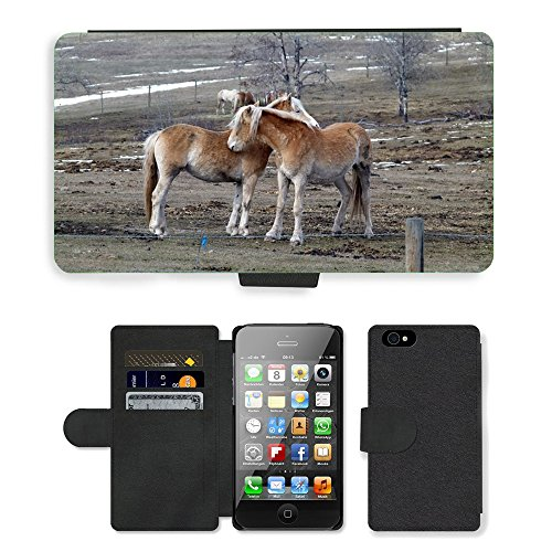 Just Phone Cases PU Leather Flip Custodia Protettiva Case Cover per // M00127782 Islaender Chevaux Animaux champs // Apple iPhone 4 4S 4G