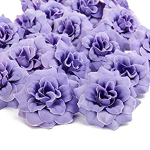 15b98f06410d SM SunniMix Pack of 100 Mini Artificial Rose Flower Heads Fabric Wedding  Decor White+Purple