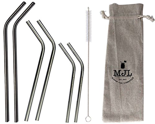 Combo Pack Thin Bent Stainless Steel Straws for Mason Jars (6 Pack + Cleaner + Bag)