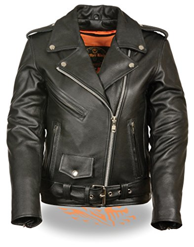 Leather Motorcycle Biker Jacket - LC2701 Ladies Black Basic Classic Motorcycle Premium Leather Jacket with plain sides,Small