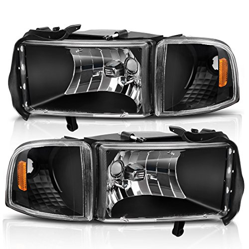 - For 94-01 Dodge Ram 1500/94-02 Dodge Ram 2500 3500 Headlight Assembly Black Housing + Corner Lights (Driver and Passenger Side)