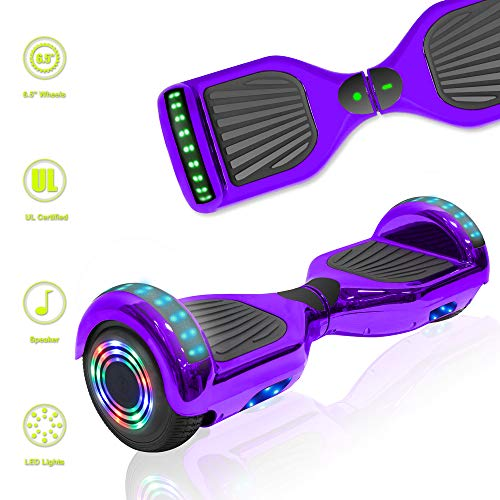 TechClic Electric Hoverboard Self-Balancing Hoover Board with Built in Speaker LED Lights Wheels...