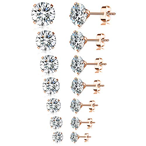 (Tornito 7 Pairs 20G Stainless Steel Stud Earrings Round Cubic Zirconia Earring Set For Men Women 2MM-8MM (B1: 7 Pairs, Rose Gold) )