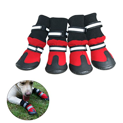 UEETEK Waterproof Pet Dog Boots,Paw Protectors Dog Shoes with Anti-slip Soles Rain Booties,Ideal for All-Weather Use,Size XL,98 77 150 mm (L W H),Red by UEETEK