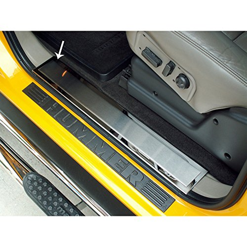 Upgrade Your Auto Polished Stainless Front Door Sill Trim Kit w/Brushed Insert for 03-07 Hummer H2