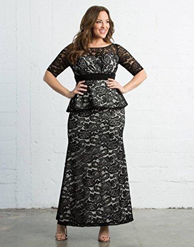 Kiyonna Women's Plus Size Astoria Lace Peplum Gown