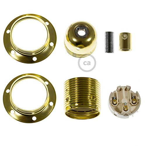 Creative Cables Metal Socket Color Brass E26, Double Ferrule + Cylindrical Cable Retainer