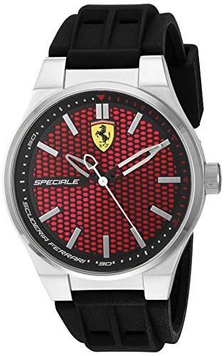 Scuderia Ferrari Men's Quartz Stainless Steel and Silicone Casual Watch, Color:Black (Model: 830353)