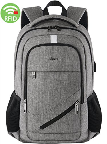 Computer Laptop Backpack,Slim College Student Backpack for Women&Men,Business Travel Laptop Backpack Bag with USB Port,Water Resistant Anti theft Durable High School Bookbag Fit 15.6 Inch Laptop-Grey