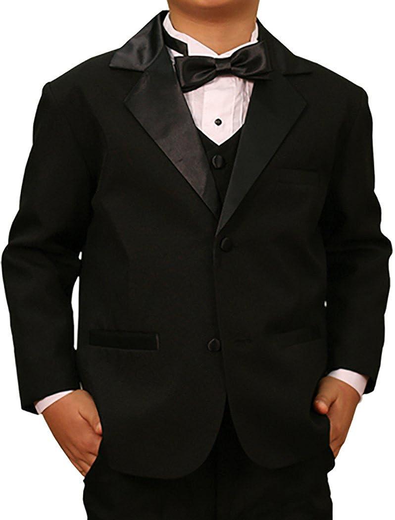 5 pieces including Shirt and Bow Tie Black Boys Tuxedo Set