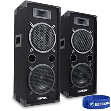 2x MAX 2 X 8u0026quot; Speakers Bedroom DJ Disco PA Party 1600W Set Mega Bass
