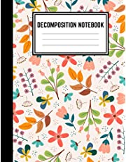 Decomposition Notebook: college ruled paper 120 Pages Large Size 8.5 x 11 lined journal, Perfect For Works College, School, And Home School. floral Cover Design