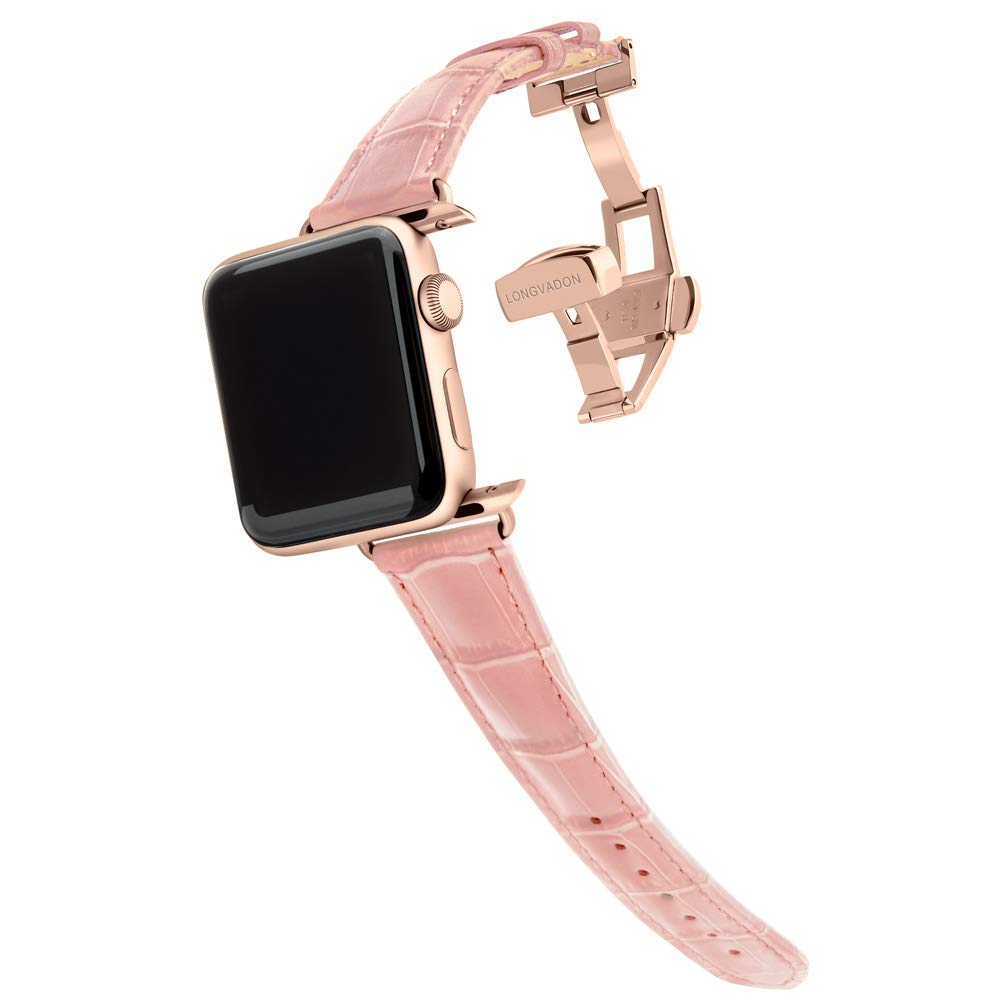 Longvadon Women's Watch Band - Compatible with Apple Watch Series 1, 2, 3 (38mm) & Series 4 (40mm) - Genuine Top Grain Leather - Caiman Series, Glossy Pink with Gold Details