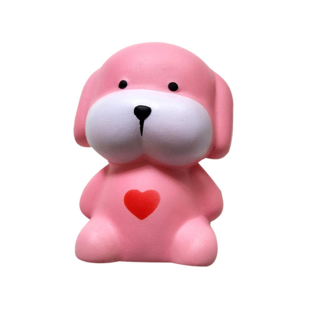 FORESTIME Adorable Dog Ring Toy - Squishy Toy for Stress Relief Kawaii Slow Rising Super Soft with Sweet Scented Cream Cute Toys for Kids Adult (Pink, 9.7 x 7 x 6.5CM)