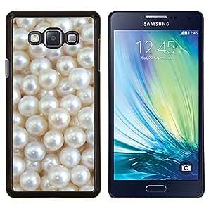 KLONGSHOP // Cubierta de piel con cierre a presión Shell trasero duro de goma Protección Caso - Blanco Madre de Bling brillante - Samsung Galaxy A7 A7000 //