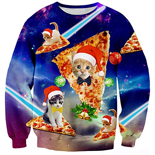 TUONROAD Naughty Ugly Christmas Sweatshirt Pizza Cat Kitten with Polka-dot Bow Tie Gold Bells Purple Blue Pink Nebular Holiday Party Printed Xmas Sweater Crew Neck Long Sleeve Pullover Jumpers Top -