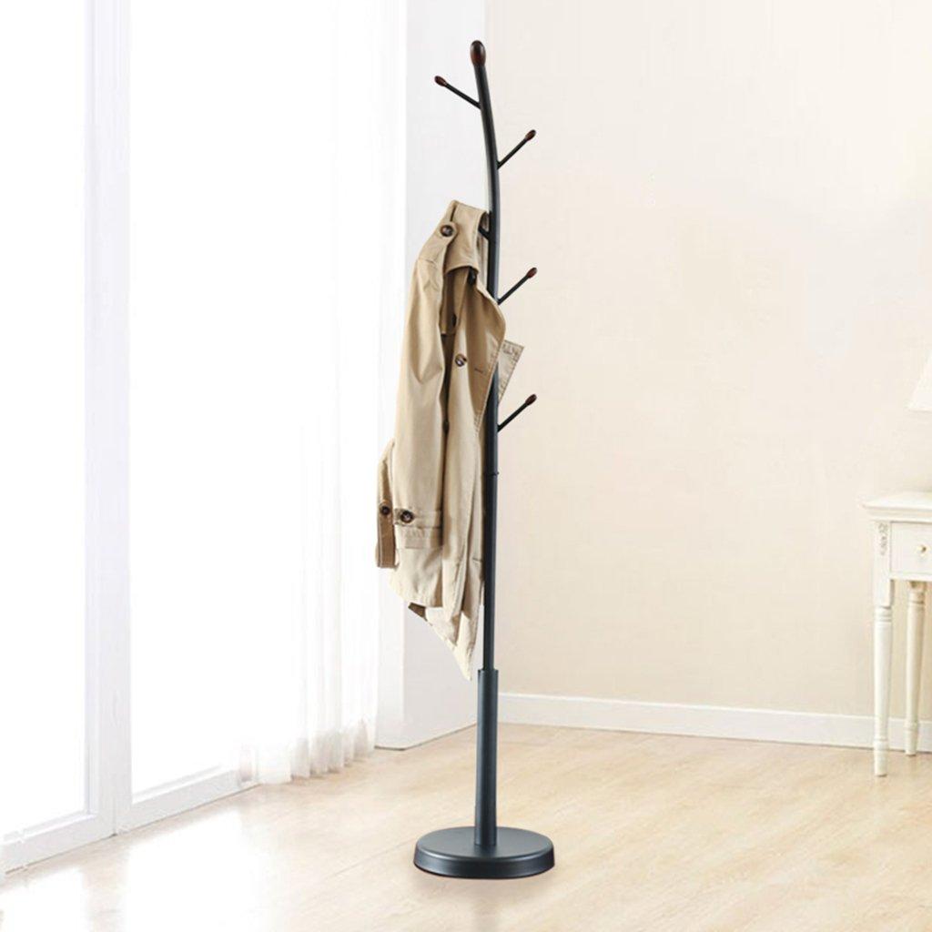 Suspensión de sombrero de pie Estante negro del sombrero de la capa de árbol de la madera de la nuez del metal del negro (Color : Negro , Tamaño ...