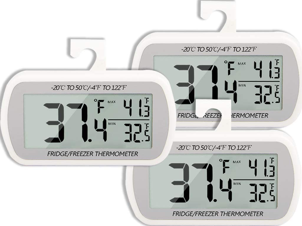 Digital Refrigerator Thermometer Big Digits Record Max/Min Temps 3 Pack