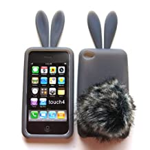 Bunny Skin Case With Furry Tail for Apple iPod Touch 4th Generation, Smoke