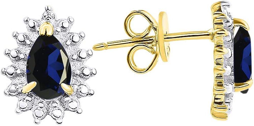 RYLOS Pendientes de halo con piedra preciosa ovalada y diamantes brillantes genuinos en oro amarillo de 14 quilates – 6 x 4 mm color piedra de nacimiento