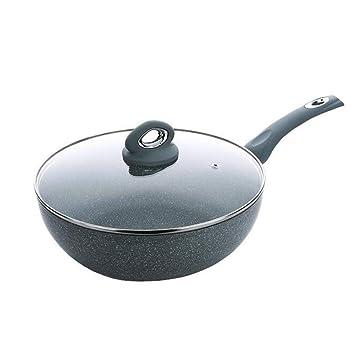 DUDDP Batería de Cocina Sartén Wok Stir Fry con Tapa de Vidrio ...