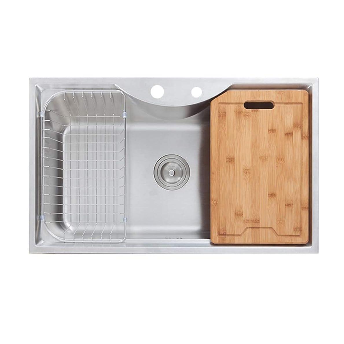 助けて調整セメントキッチンシンク(蛇口なし) 台所の流し台 1槽シンク キッチン用流し台 手作りシンク #304ステンレス製流し台 (55 * 45cm)