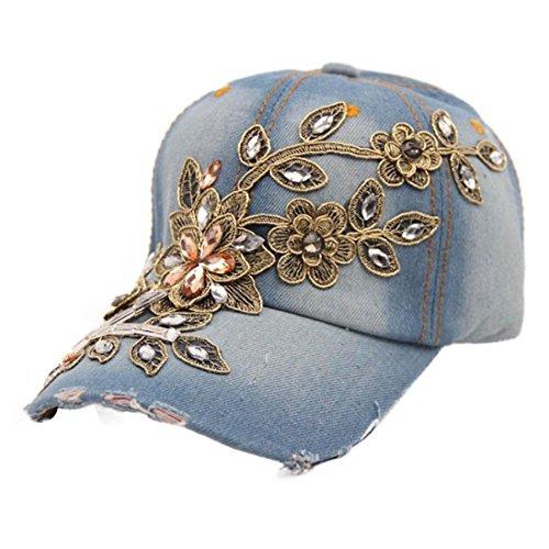 Botrong Women Diamond Flower Baseball Cap Summer Style Lady Jeans Hats (A) ()