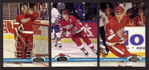 1992 Topps Stadium (1991 - 1992 Topps Stadium Club Detroit Red Wings Complete 17 Card Team Set Shipped in an Acrylic Case - Includes Federov, Yzerman and Probert)