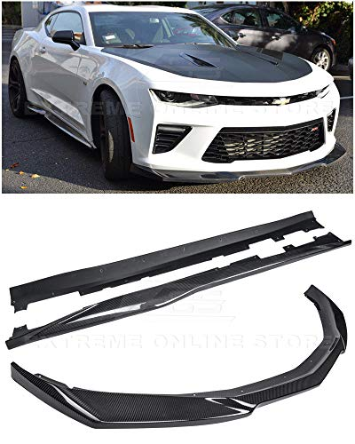 Replacement For 2016-2018 Chevrolet Camaro SS | ZL1 Style Front Bumper Lip Splitter With Side Skirts Rocker Panel Pair (Carbon Fiber)