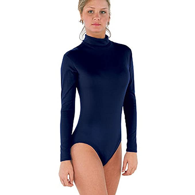 a18aa3b139 Image Unavailable. Image not available for. Color  Bodywrappers Nylon Long  Sleeve Turtleneck Leotard