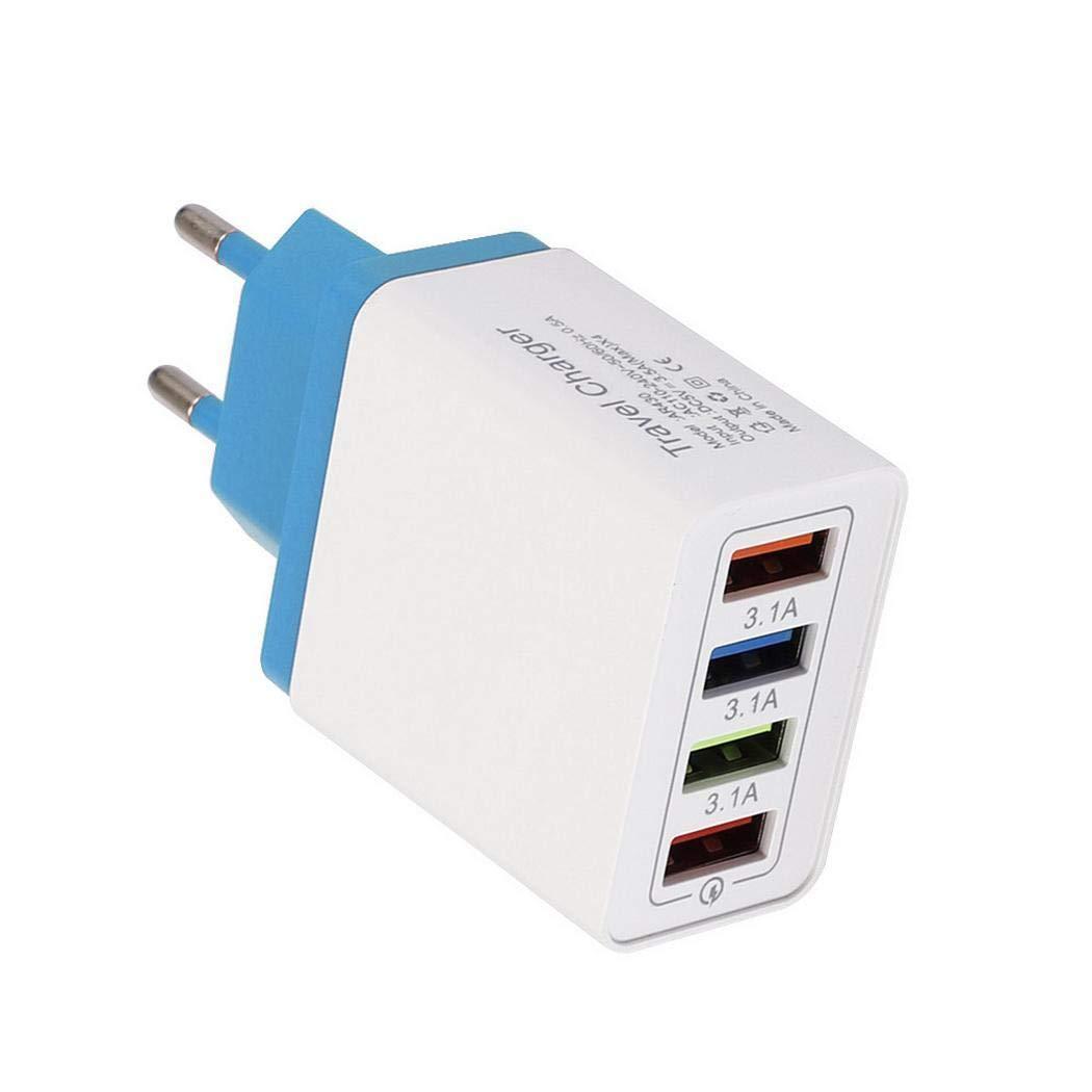 Zimrio 4 Porta USB Caricabatterie colorato 3A Testa di Ricarica da Viaggio per iPad Caricabatterie a induzione