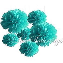 LolaSaturdays Paper Pom Poms 3 Sizes 6 Pack Teal