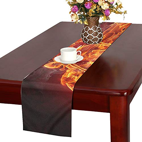 WUTMVING Fire Skeleton Riding Motorcycle Table Runner, Kitchen Dining Table Runner 16 X 72 Inch for Dinner Parties, Events, Decor -