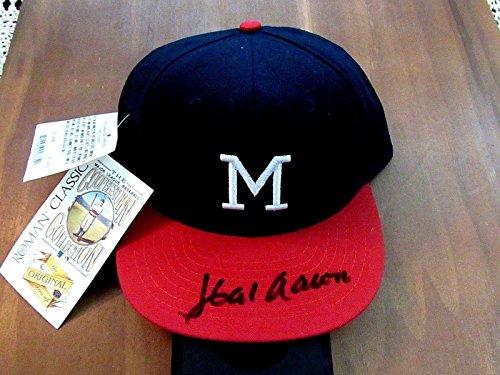 Hank Aaron Hof Milwaukee Braves Signed Auto Vintage Roman Cap Gem - JSA Certified - Autographed Hats Milwaukee Braves Cap