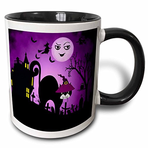 3dRose 173233_4 Cat in A Witches Hat A Laughing Moon Purple and Black Halloween Ceramic Mug 11 oz White ()
