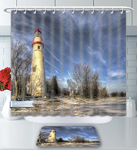 Bath Lighthouses (Aoreeo Bathroom Two-Piece Set The Historic Marblehead Lighthouse in Northwest Ohio Sits Along The Rocky Shores Lake Erie Seen Shower Curtain Bath Rug Set, 71