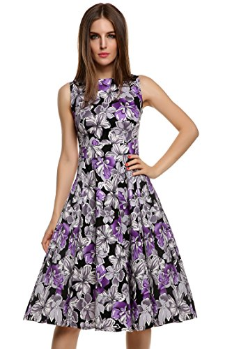 Ruched Waist Classy V-Neck Casual Cocktail Dress(Gradient Purple M) (Brenda Swing Dress)