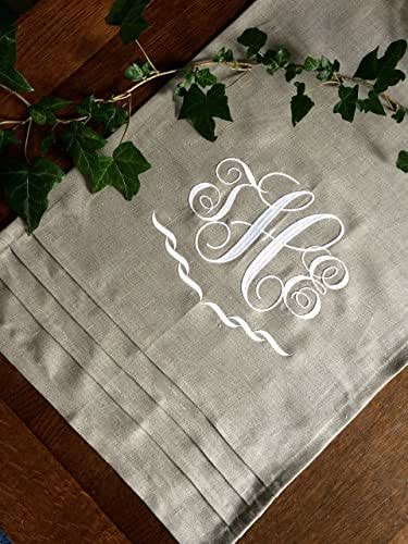 Personalized Interlocking Monogram Natural Linen Table Runner Embroidered Buffet Cloth 50 inches long