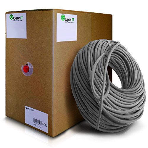 24awg Pull Box - GearIT 1000 Feet Bulk Cat6 Ethernet Cable - Cat 6e 550Mhz 24AWG Full Copper Wire UTP Pull Box - In-Wall Rated (CM) Stranded Cat6, Gray