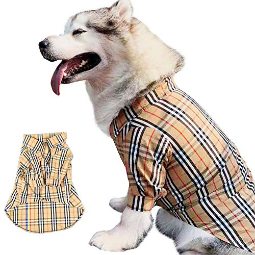 CT COUTUDI Large Dog Plaid Shirt Cotton Lapel Costume Polo Apparel Plaid Puppy Fitout Pet Plaid Polo Clothes S-6XL