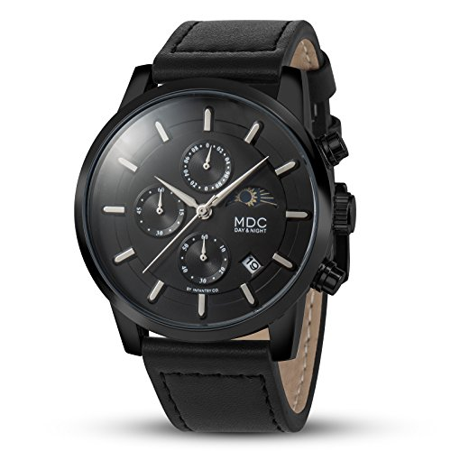 MDC Mens Classic Black Leather Watch Casual Chronograph Sport Wrist Watches for Men Moon Phase (Moon Wrist Chronograph Phase Watch)