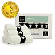 Bamboo Baby Washcloths - 100% Natural Bamboo Fibers | Ultra Soft & Hypoallergenic | No Added Chemicals | Perfect for Sensitive Skin | Large Premium Wash Cloth Measure 10 X 10 | Set of 6 White