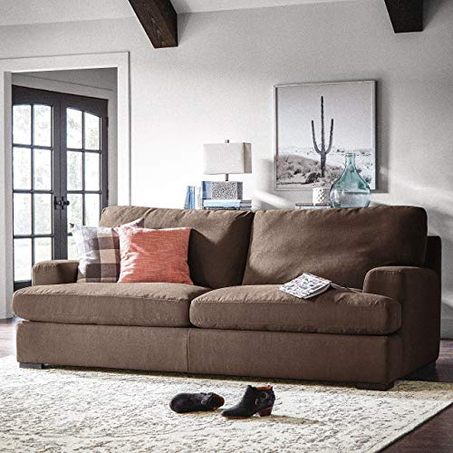 "Stone & Beam Lauren Down-Filled Oversized Sofa Couch with Hardwood Frame, 89""W, Chocolate"