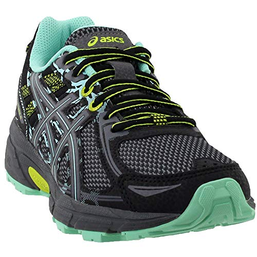 ASICS Womens Gel-Venture 6 (D) Road Running Shoe, Black/Carbon/Green, 10.5 D US