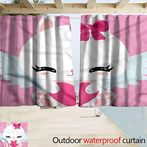 MaryMunger Sliding Door Curtain Kawaii Bunny with Wings and Heart Darkening Thermal Insulated Blackout W63x63L Inches from MaryMunger