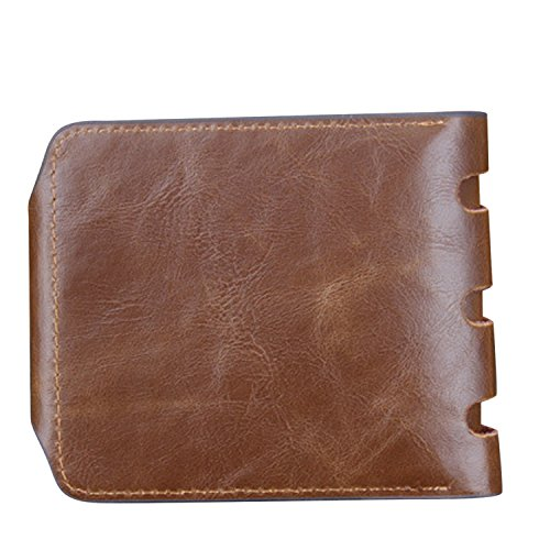Vococal - Cuero Auténtica Hombres Vintage estilo corto PU cuero bolsillos Monedero