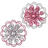 Pink & Silver Glitter Flower Christmas Ornament, Set of 2 Styles