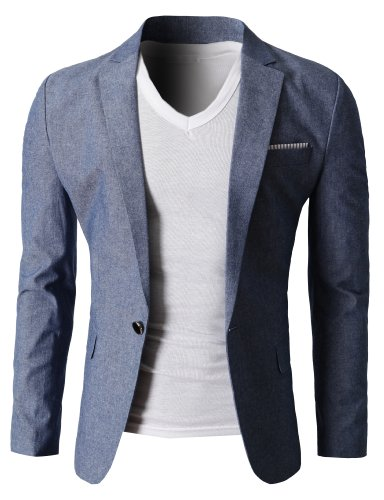 H2H Mens Fashion Linen Blazer Jackets BLUE US M/Asia XL (KMOBL061)